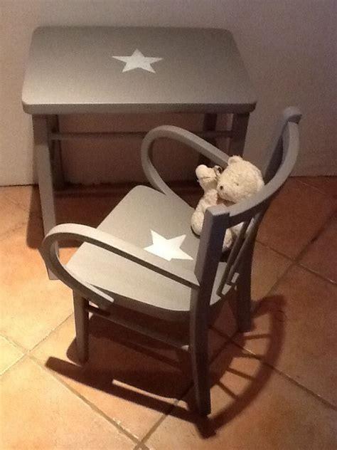 ensemble table bureau enfant et chaise fauteuil vintage en bois patin 233 taupe taupe vintage et