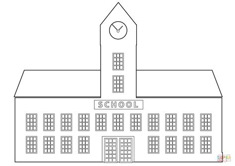 School Building Coloring Page  Free Printable Coloring Pages