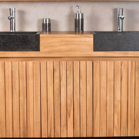 meuble sous vasque vasque en bois teck massif 2 vasque en terrazzo luxe naturel