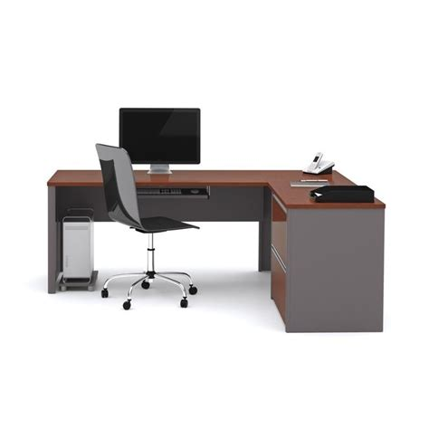 bestar connexion l shaped desk with 1 oversized pedestal in bordeaux and slate 93862 39