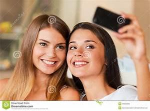 We love making selfie! stock image. Image of looking ...