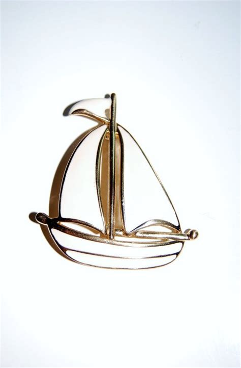 Boat Shop Napier by Vintage Nautical Sail Boat Brooch Solid Enamel White