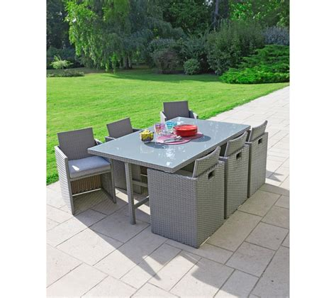 carrefour set encastrable de jardin osaka 1 table 6 fauteuils acier et fibre de r 233 sine