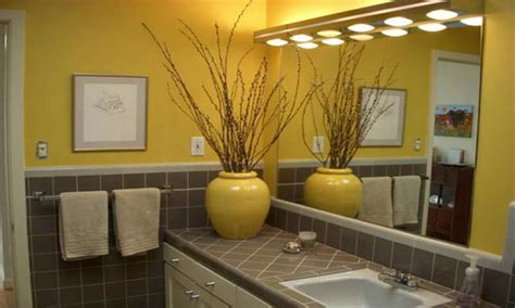 Adorable Yellow And Gray Bathroom With Purple