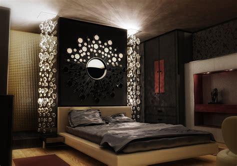 Dark Luxury Modern Bedroom Design With Wall Lighting And