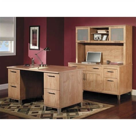 bush somerset collection 60 quot wood desk in maple cross