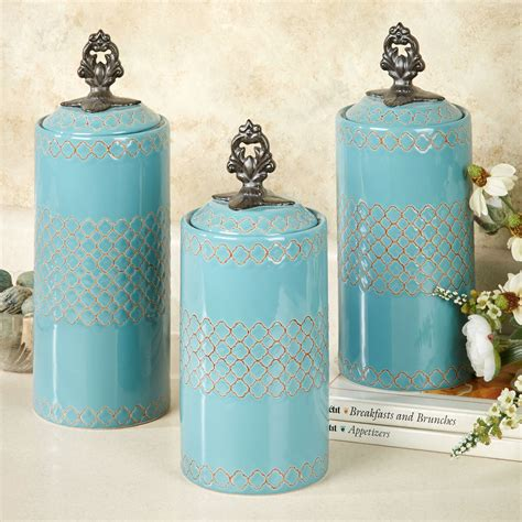 safiya turquoise kitchen canister set