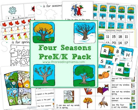 Free Worksheets Four Seasons Prekk Printable Pack Free