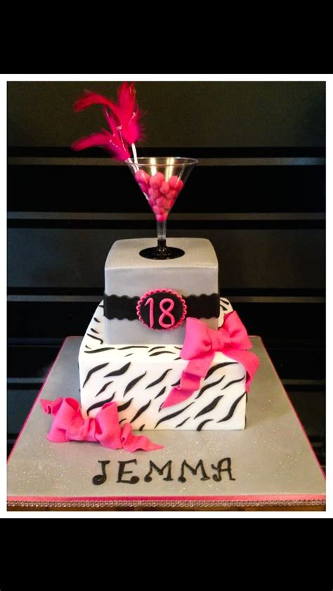 18th Birthday Cake With Zebra Print And Cocktail Glass