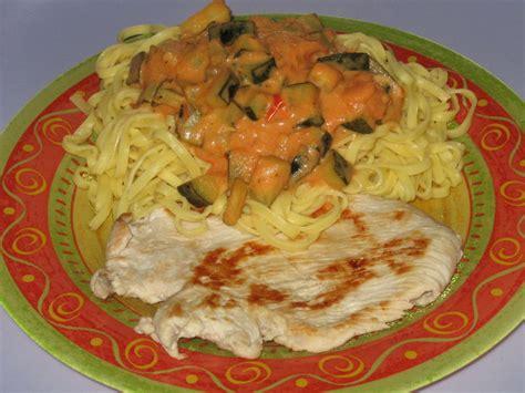 tagliatelles tomat 233 es aux d 232 s de courgette et escalope de dinde s kitchen