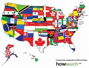 Map of the US redrawn as if the states were countries with ...