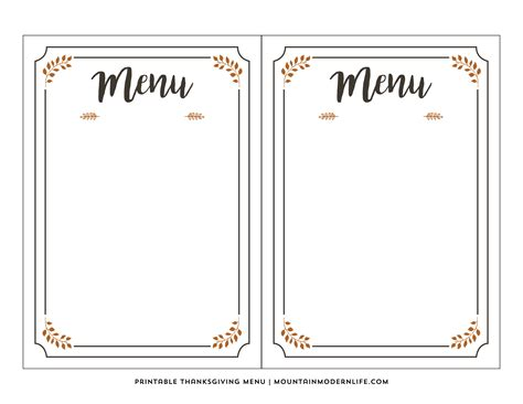Thanksgivng Dinner Pages Template by Free Printable Thanksgiving Menu Mountainmodernlife