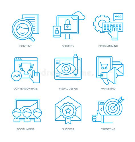 Seo And Digital Marketing Icons Stock Vector  Image 52689906