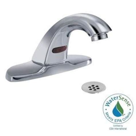 delta commercial battery powered single touchless bathroom faucet with 4 in centerset in