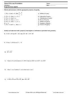 Worksheet Properties Of Equality & Congruence  Reasoning In Algebra  Geometry Printable