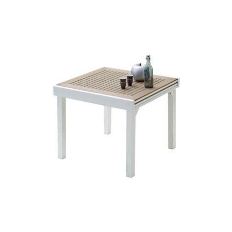 table de jardin carr 233 e extensible aluminium blanc et polywood l90 achat vente table de