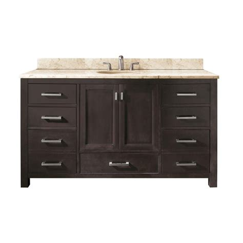 avanity modero 60 inch single vanity with galala beige marble top and single sink in espresso