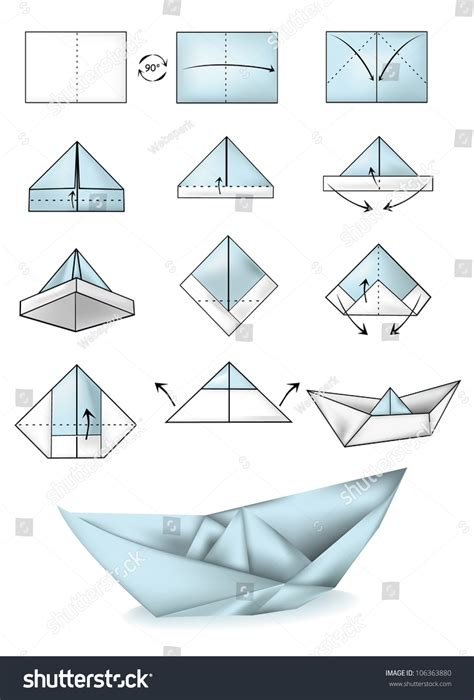 How To Make A Paper Boat Step By Step With Pictures by Origami White And Blue Paper Boats Psdgraphics Paper Boat