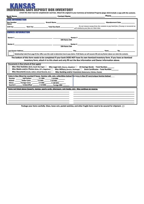 safe deposit box inventory form fillable kansas individual safe deposit box inventory form