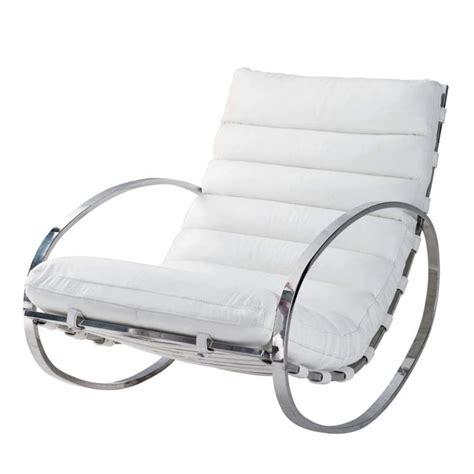 fauteuil 224 bascule en cuir blanc freud maisons du monde