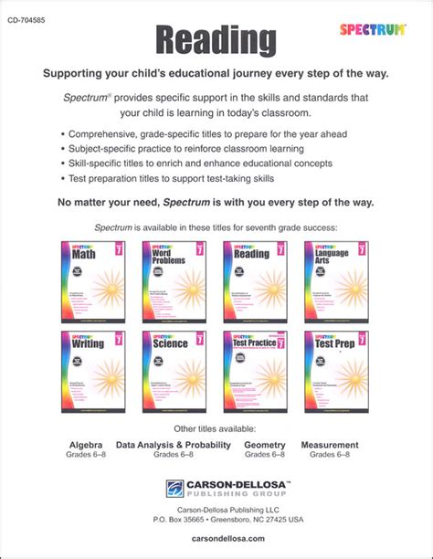 Spectrum Reading 2015 Grade 7 (058381) Details  Rainbow Resource Center, Inc