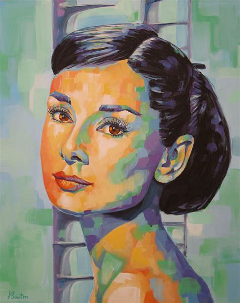 portrait de femme tableau peinture actrice hepburn forever peintures par