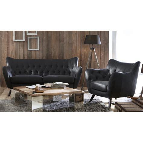 canape cuir vintage noir 2 places mister canap 233