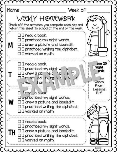 Editable Weekly Homework Checklists {compatible With Kindergarten Journeys}  A Well, Homework