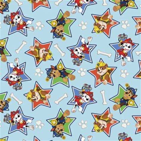 Paw Patrol In Stars Blue Background Flannel Cotton