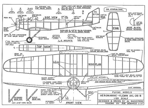 Klem Flying Boat by Aeromarine Klemm Backstrom Plans Aerofred Download