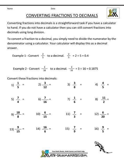 Converting Fractions To Decimals Calculator Worksheet  Kidz Activities