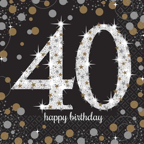 16 x black age 40 napkins black gold silver 40th birthday