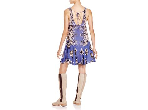 Free People Floral Print Flounce Dress In Blue (blue Combo)
