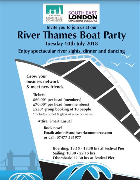 Party Boat East London by Southwark South East London Chambers Of Commerce River