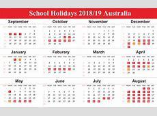 Free Australia School Holidays 2019 Calendar Templates