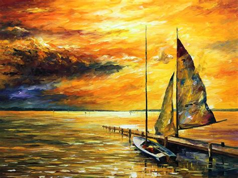 Boat Paintings By Famous Artists by Sunset Paintings By Famous Artists Sailing Away