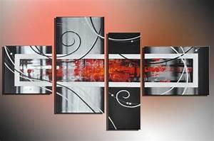 Bild 3 Teilig Auf Leinwand : design bild abstrakte kunst rot modern art handgemalt leinwand 120 x 70 4teilig kaufen bei h t ~ Markanthonyermac.com Haus und Dekorationen