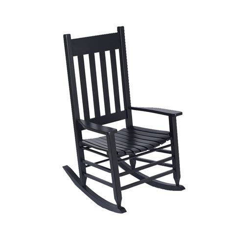 shop garden treasures black wood slat seat outdoor rocking chair at lowes