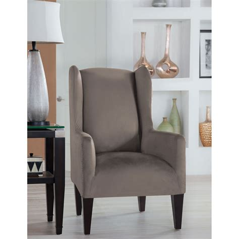 Grey Wingback Chair Slipcovers by Stretch Fit Grey Wingback Chair Slipcover Fit
