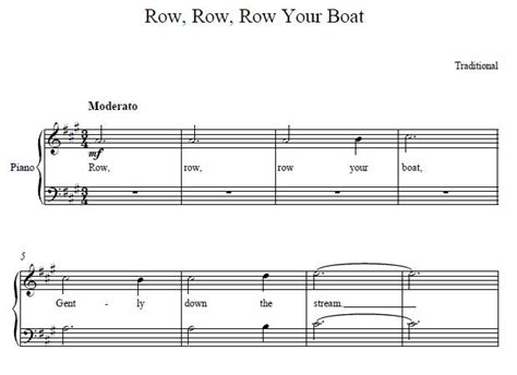Row Row Row Your Boat Notes Piano by Row Row Row Your Boat Easy Piano Sheet Music