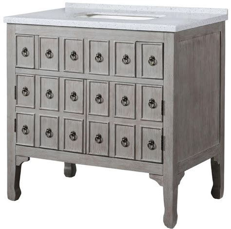 36 inch single sink bathroom vanity with a distressed gray finish uvlklk2836