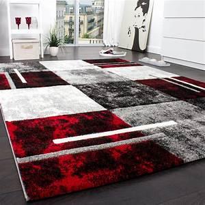Antirutschmatte Teppich Auf Teppich : designer teppich modern mit konturenschnitt karo muster grau schwarz rot restposten ~ Markanthonyermac.com Haus und Dekorationen