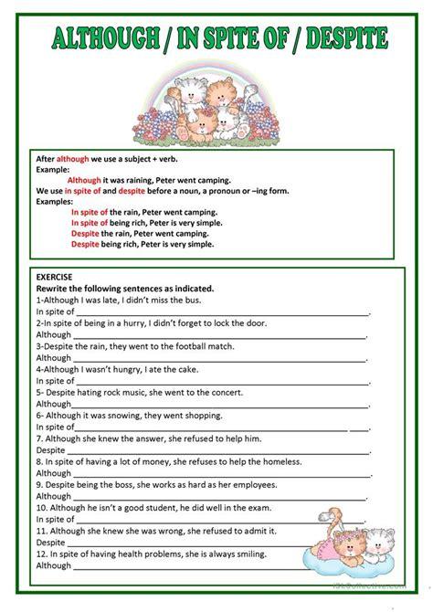 Although, Despite & In Spite Of Worksheet  Free Esl Printable Worksheets Made By Teachers
