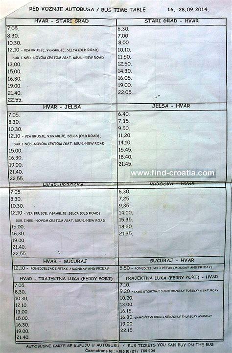 Bus From Dubrovnik To Hvar Town by Bus Timetables For Hvar Island