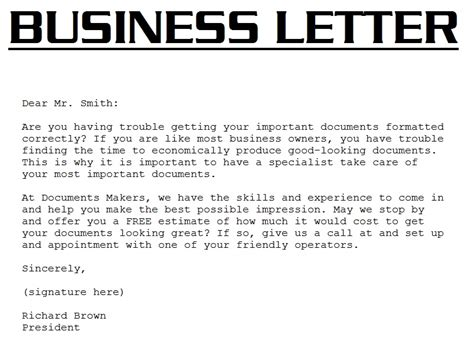 Business Letter Definition Template
