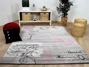 Rosa Grau Teppich : designer teppich sevilla klassik grau rosa schmetterling teppiche designerteppiche sevilla teppiche ~ Markanthonyermac.com Haus und Dekorationen