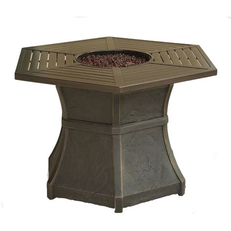 hanover aspen creek 19 in aluminum high top pit table in oak aspcrk1pcfp the home depot