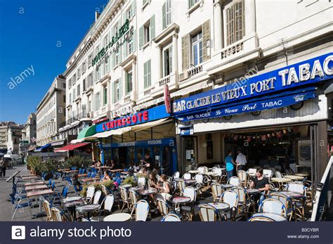 harbourfront cafe bar on the quai des belges vieux port district stock photo royalty free