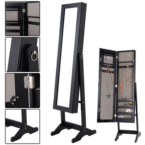 costway mirrored jewelry cabinet armoire mirror organizer storage box ring w stand jet