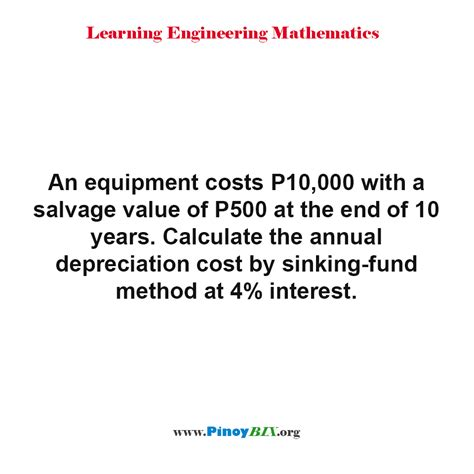 solution calculate the annual depreciation cost by sinking fund method at 4 interest